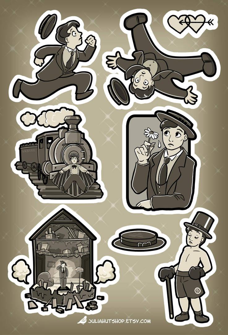 Buster Keaton Sticker Sheet by orinocou