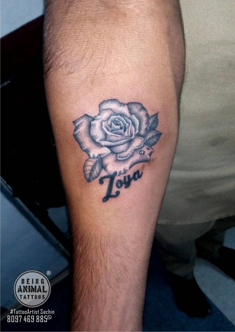 Black And Grey Rose Tattoo With White Highlights By Samarveera2008