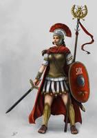 Commission: Centurionin der Legio V Shinxira (DSA) by Neferu