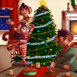 Christmas with the Saru Siblings by CaramelKitt