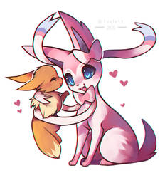 Sylveon and Eevee by foxlett
