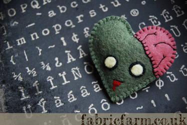 I love Zombies Heart Brooch by fabricfarm