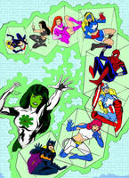 ComicBook Girl Power -SuperHeroine TeamUp in color by redskindavyd