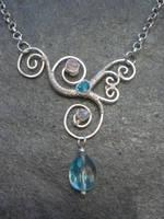 Asymmetrical Wire Wrapped Pendant by ChloeLB