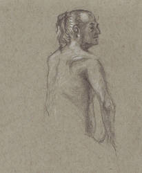 Life drawing - Man, back view by marypmadigan