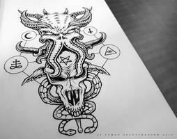 Cthulhu Demon - Tattoo Design by Jack-Burton25