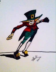 Happy St Patrick's Day in India ink n acrylic by donwhitt