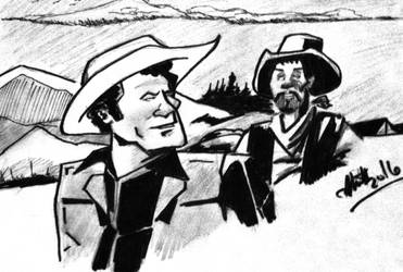 Tv western in India ink n pencil by donwhitt