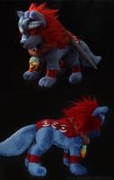 Okami: Oki plush (Wolf form) finished by CyanFox3