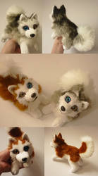 SOLD- Siberian Huskies Red Grey - Small floppy by CyanFox3