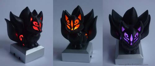 SOLD - 3D print Chibi Kitsune BLACK ver. by CyanFox3
