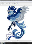 Blue phoenix ~ Embroidery pattern COMPLETED by CyanFox3