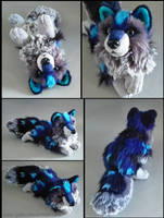 SOLD - Night Frost wolf ~ small floppy by CyanFox3