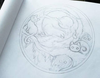 Nocturnal Forest ~ Embroidery concept WIP by CyanFox3
