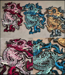 NEW Chinese dragons ~ XL embroidered patch by CyanFox3