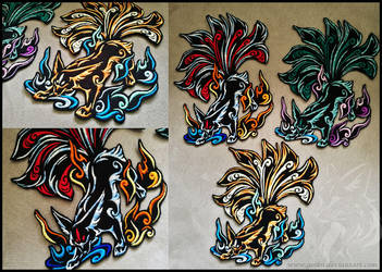 Tribal Nine-tailed fox ~ XL Embroidered patches by CyanFox3
