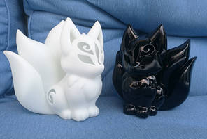 3D Printed Resin kitsune models by CyanFox3