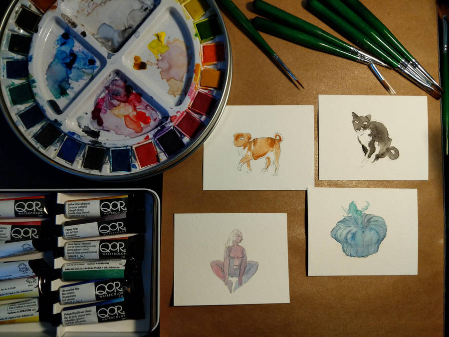 Watercolour minis wip by dianabynight