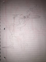 me trying to draw something playing a trombone by Shadowstorm133