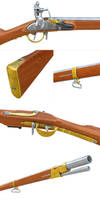 Russian flintlock rifle 1808 details by kvserg