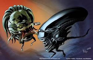TLIID 384. Alien Vs Predator, MODOK style by AxelMedellin