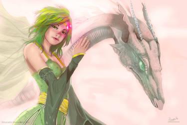 Rydia and Mist by hinoraito