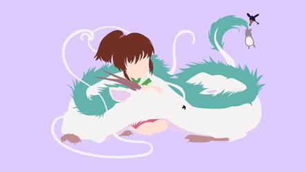 Chihiro and Haku from Spirited Away   Minimalist by matsumayu
