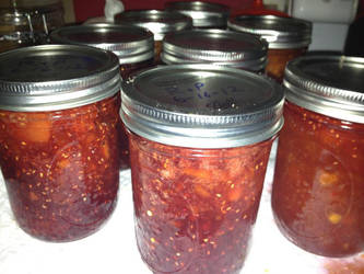 Raspberry and Peach jam/preserves by kwills84