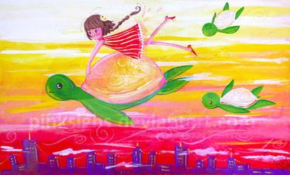 Tortugas en el cielo by pinksighs