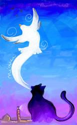 La gaviota y el gato by pinksighs
