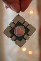 Companion Cube Keychain by OcularFracture