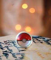 Adjustable Pokeball Rings by OcularFracture