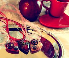 Steampunk Valentine's Day Hearts by OcularFracture