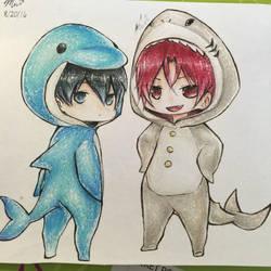 Chibi Dolphin!Haru and Shark!Rin by michaneki