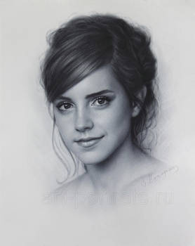 Emma Watson drawing portrait by DRY BRUSH by Drawing-Portraits