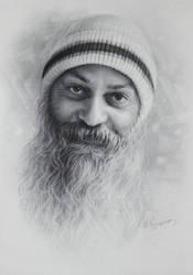 Osho Bhagwan Shree Rajneesh portrait by dry brush by Drawing-Portraits