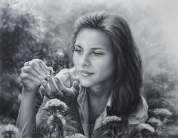 Drawing of a girl with butterfly by Dry Brush by Drawing-Portraits