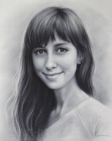 Drawing of beautiful girl by Dry Brush by Drawing-Portraits