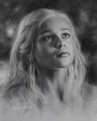 Drawing Emilia Clarke is looking up by Dry Brush by Drawing-Portraits
