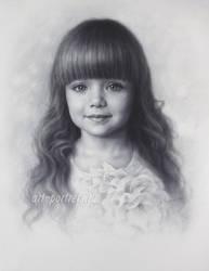 Drawing of a Little Beautiful Anastasia Knyazeva by Drawing-Portraits