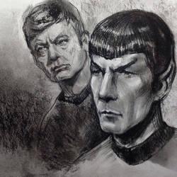 Spock (sketch 6) and McCoy by Ognivik