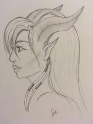 Female Draenei Portrait by Karysia