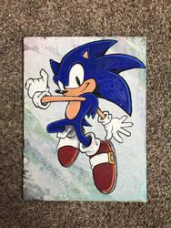 Acrylic painting Sonic the Hedgehog by JillyFoo