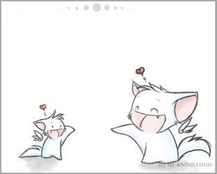 Chibi kitty meets mini kitty by Andoledius