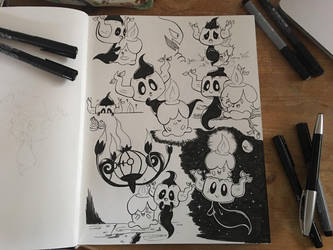 Phantump and Litwick Halloween Inktober by Simona018