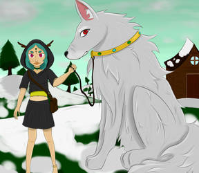 The witch and her giant wolf by SaiyanGirl01