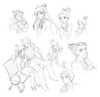 Phoenix Wright Doodles by Nijuuni