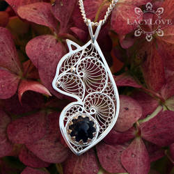 Handmade sterling silver filigree cat by LacyLoveHandmade