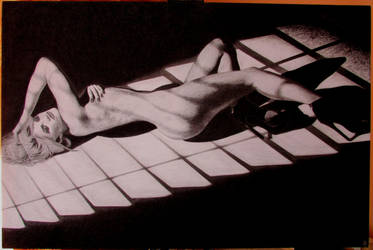 Punk girl (coal on canvas, 60*90) by Zahorbenskyi