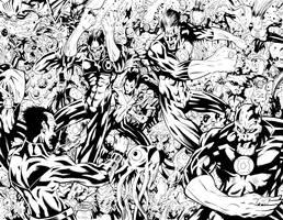 Green Lantern Spread Inks by CjB-Productions